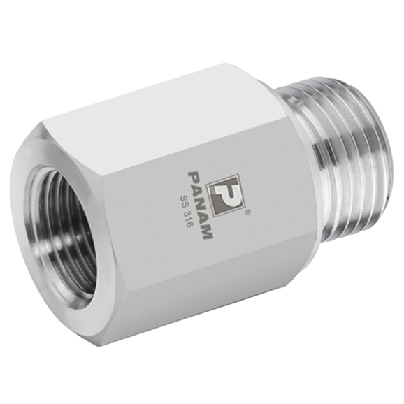 Male x Female Straight Reducers, BSPP, Male Thread Size 1'', Female Thread Size 3/8''