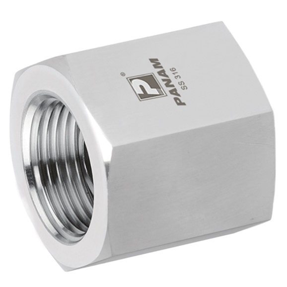 Stainless Steel Female x Female Straight Adaptor, Fixed, NPT 1/2'' x 1'' NPT