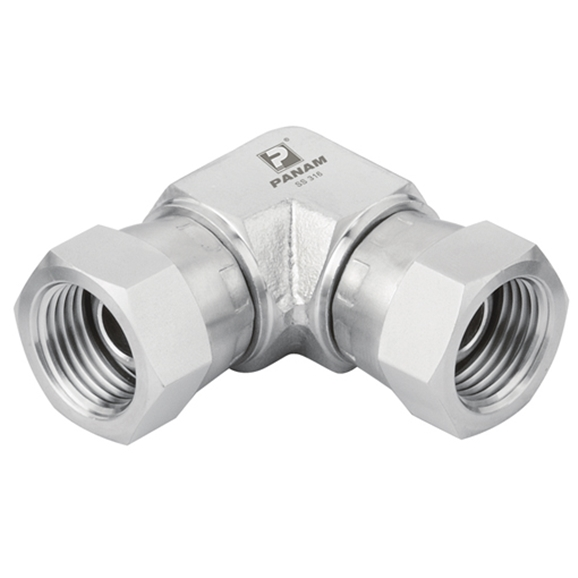 "Stainless Steel Swival Elbow, BSP Swivel Female x BSP Swivel Female Elbow, 1/2"" x 1/2"""
