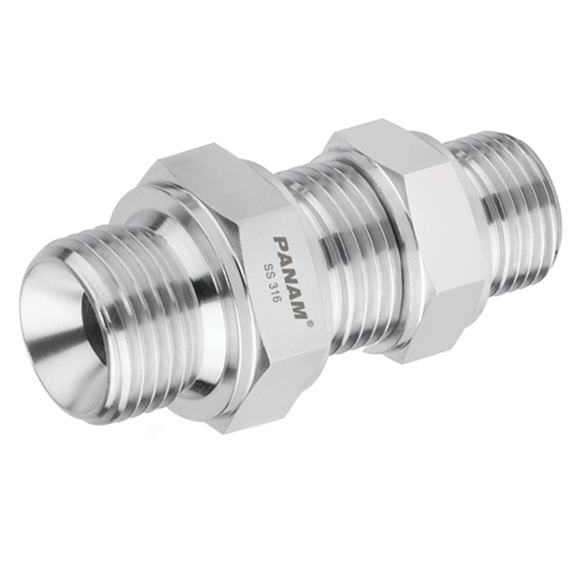 "Stainless Steel, BSP Male x BSP Male Bulkhead complete with locknut, 1"" x 1"""
