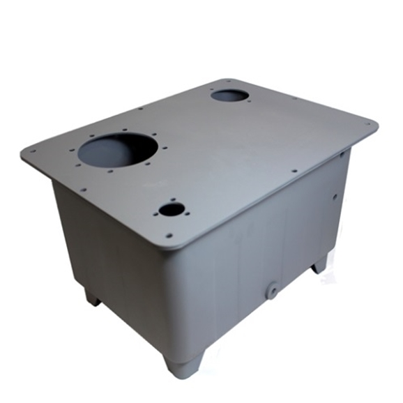 "Flowfit 40 litre steel tank with pre-drilled 3 hole filler breather, 2 bolt return line filter,bell housing hole to suite 0.55-1.5kw motor, c/w lid,seal and 1/2"""" drain plug"