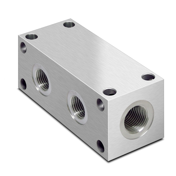 "Oleorama Hydraulic Parallel Scheme Manifold, 2 Station, 1/4"""" BSP inlet ports 1/8"""" Service ports, Alu"