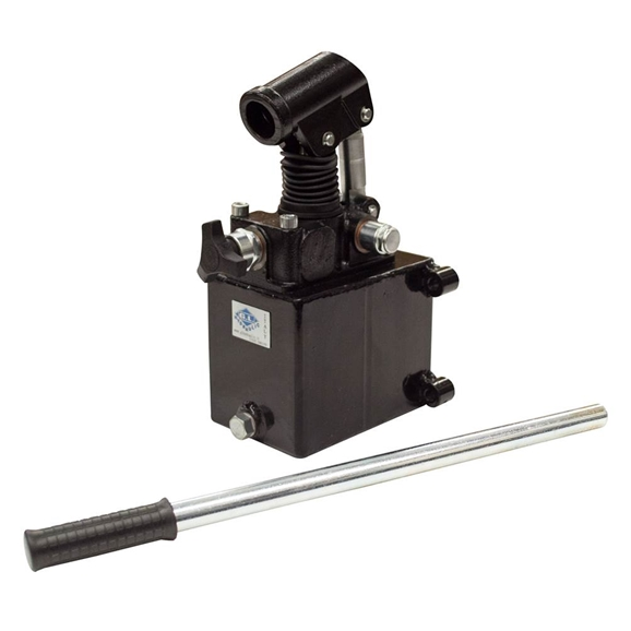 GL Hydraulic single acting Hand Pump assembly 28 cc with release knob, pressure relief valve 280 Bar rated, 1 litre steel tank and 600mm handlever