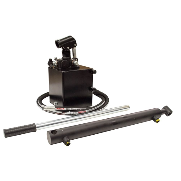 GL Single acting hydraulic Hand Pump trailer pack to lift, 2.5 tonne 400mm stroke max pressure 200 bar displacement of Hand Pump 25cm3, 1 litre tank