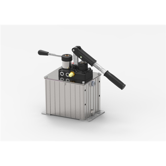 GL Double Stroke Hand Pump for a Double Acting Cylinder with 2 Litre Oil Tank, 11CC with Relief Valve, Max Pressure: 380 Bar, Complete with Levers