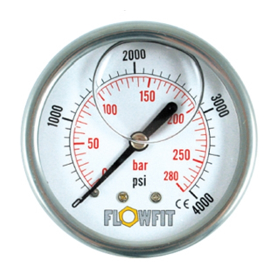 "63mm Glycerine Filled Hydraulic pressure gauge -30 HG (-1 BAR) 1/4"" BSP REAR Entry"