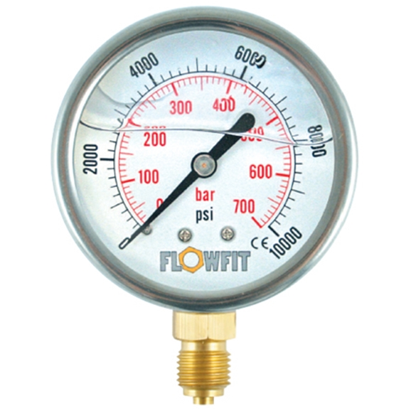 "100mm Glycerine filled hydraulic pressure gauge -30 HG (-1 BAR) 1/2"" BSP BASE Entry"