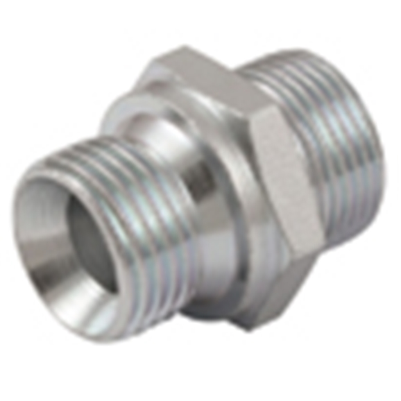 Male Stud Coupling, Light Duty, 60° Cone, BSPP. Thread Size 1/2'', OD 10mm