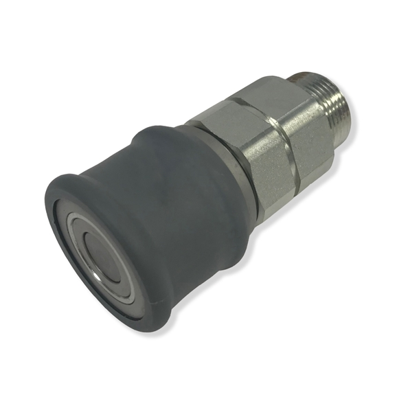 "Hydraulic Flat Face Quick Release Coupling, Female, 3/8"" BSP Body, M24 X 1.5 Thread, C/W Grey Sleeve"