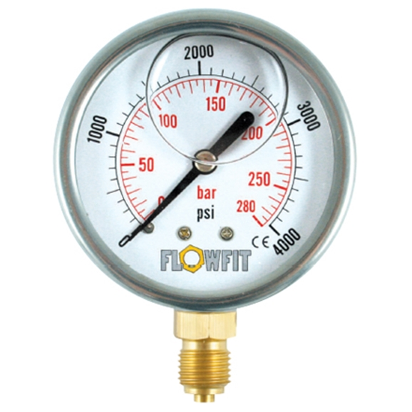 "50mm Glycerine Filled Hydraulic Pressure Gauge 0-600 PSI, 1/4"" BSP, Base Entry"