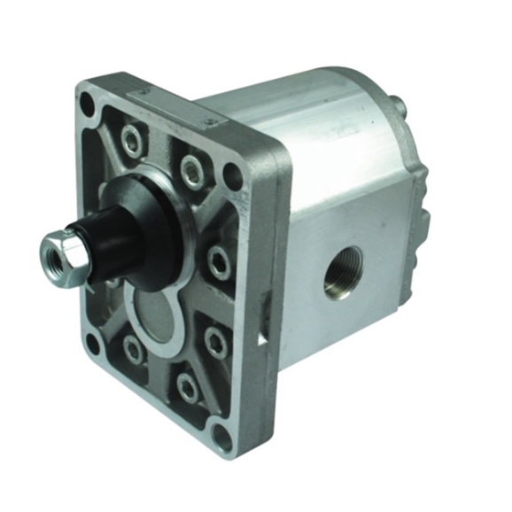 "Hydraulic Gear Pump, Group 2, 2 Bolt SAE Flange, Elbow ports, 5/8"""" Parallel Shaft, 8.5CC, Anti-Clockwise"
