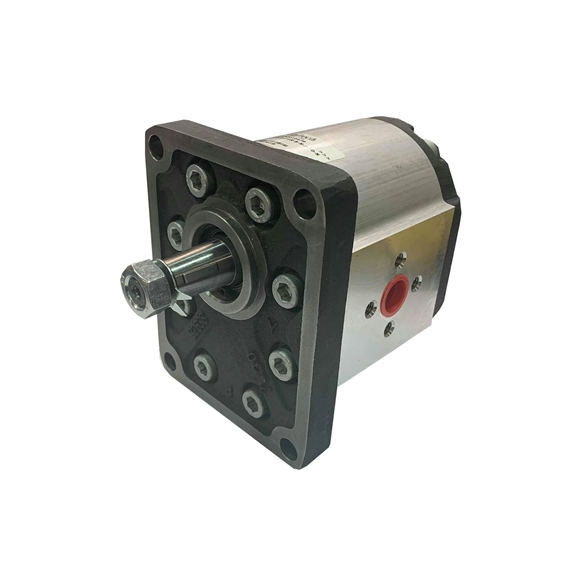 Hydraulic Gear Pump, Group 2, 4 Bolt Flange, Elbow ports, 1 1:8 Taper Shaft, 19CC, Clockwise