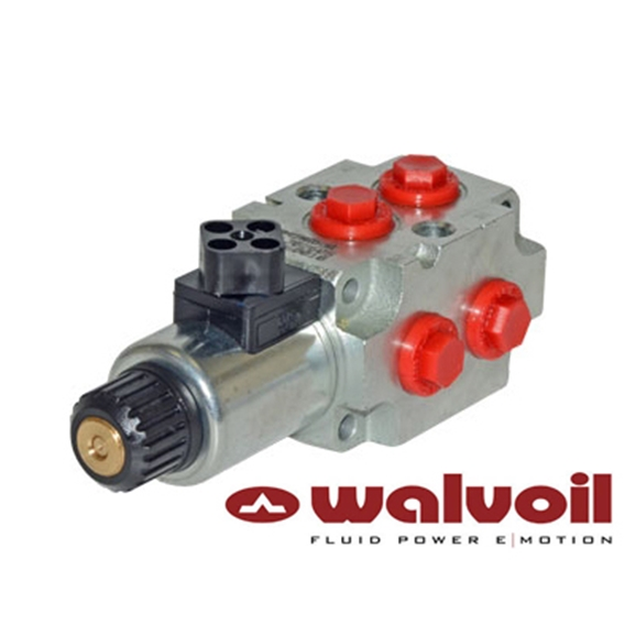 "Walvoil 6 Way Solenoid Diverter, 1/2"" BSP, 12V DC, Open Centre"