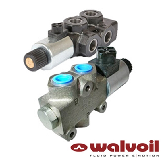 "Walvoil 3 Way Solenoid Spool Diverter, 1/2"" BSP, 12V DC, Open Centre"