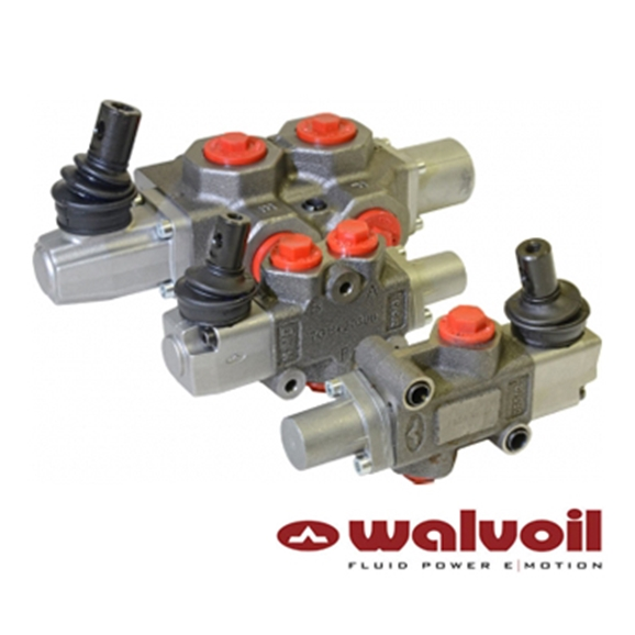 "Walvoil Manual Spool Diverter Valve 3 Way, 3/8"" BSP Ports, Open Centre Spring Return, No Lever Box"