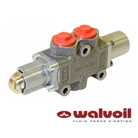 "Walvoil Manual Spool Diverter Valve 3 Way, 1/2"" BSP Ports, Open Centre Cam Controlled"