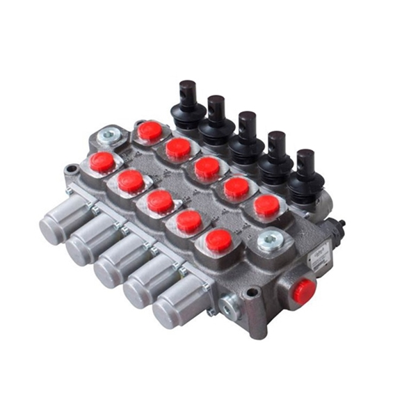 Galtech 5 Bank, 1/2 BSP, 90 l/min Double Acting Cylinder Spool 3 Position, Spring Return Hydraulic Monoblock Valve