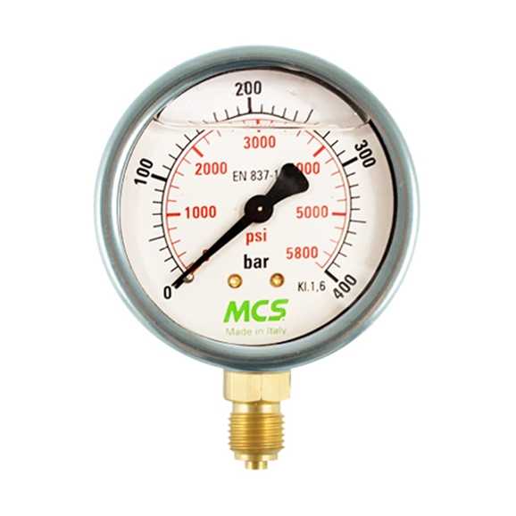 "MCS 100mm High Quality Hydraulic Pressure Gauge, 0-25 Bar, 350 PSI, 1/2"" BSP, Base Entry"