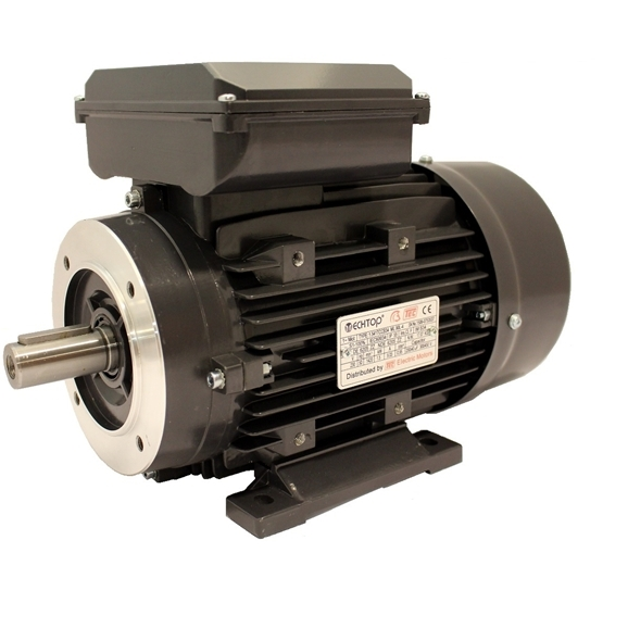 Single Phase 230v Electric Motor, 0.55Kw 2 Pole 3000rpm With Face And Foot Mount, Perm Cap