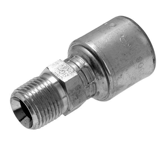 "Gates NPTF Male Fixed Hose Coupling, 5/8"" Hose x 1/2"" - 14 NPTF"