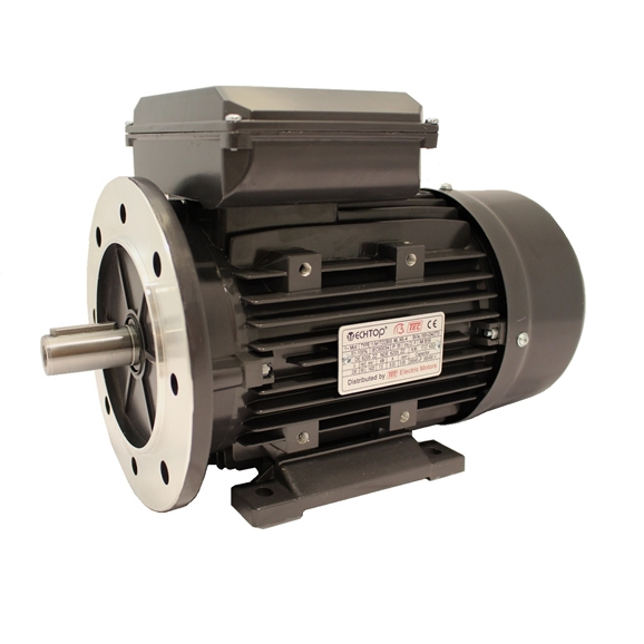 Single Phase 230v Electric Motor, 0.55Kw 4 Pole 1330rpm with Flange & Foot Mount, Perm Cap